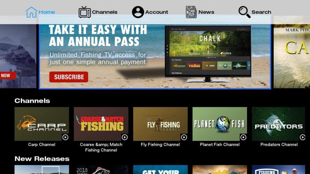 Fishing TV app on Roku Homepage