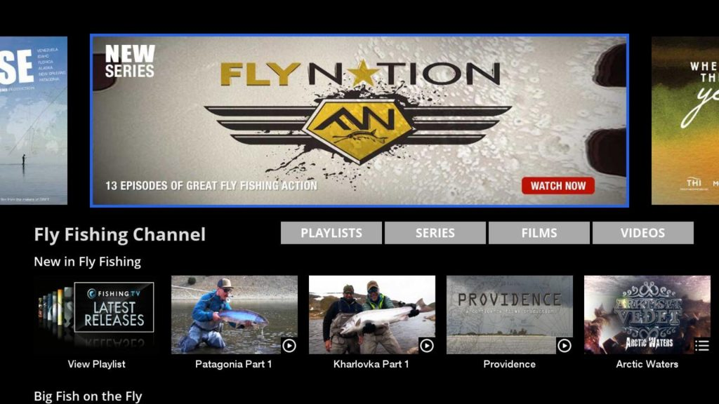 Fly Fishing Channel Page on Roku